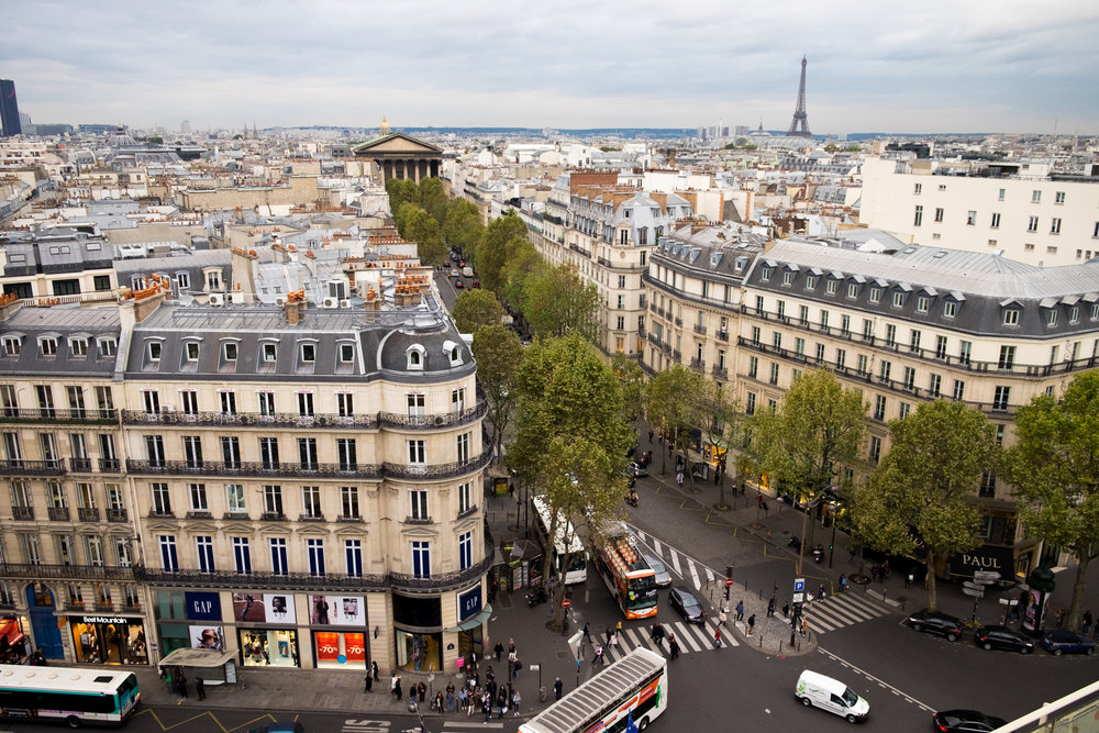 An overview of Paris from the roof of the beautiful department store, Printemps.