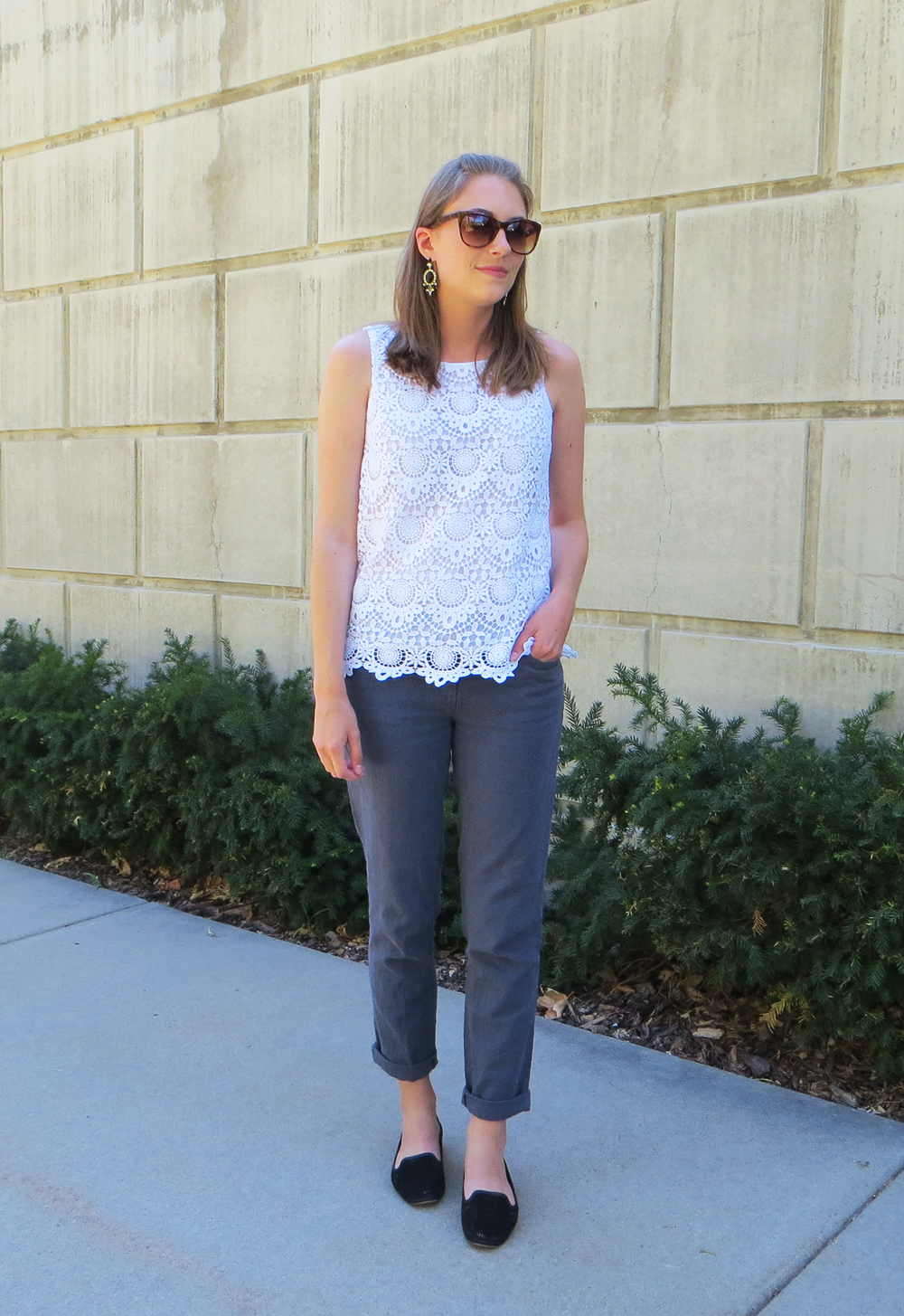Crochet top, linen pants, black loafers, statement earrings -- Cotton Cashmere Cat Hair