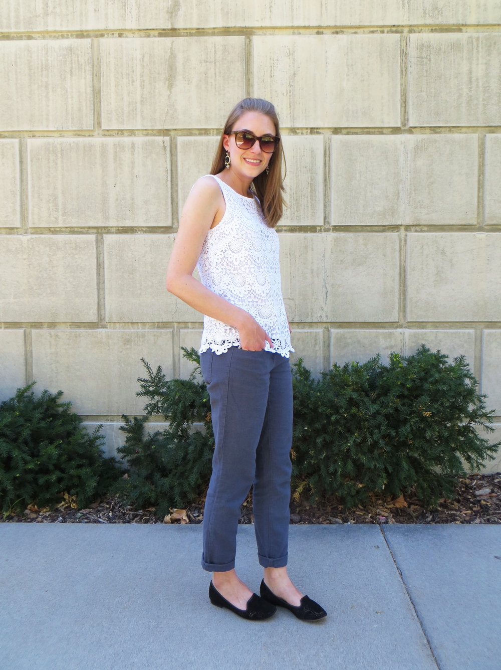 Lilly for Target crochet top, linen pants, black loafers -- Cotton Cashmere Cat Hair