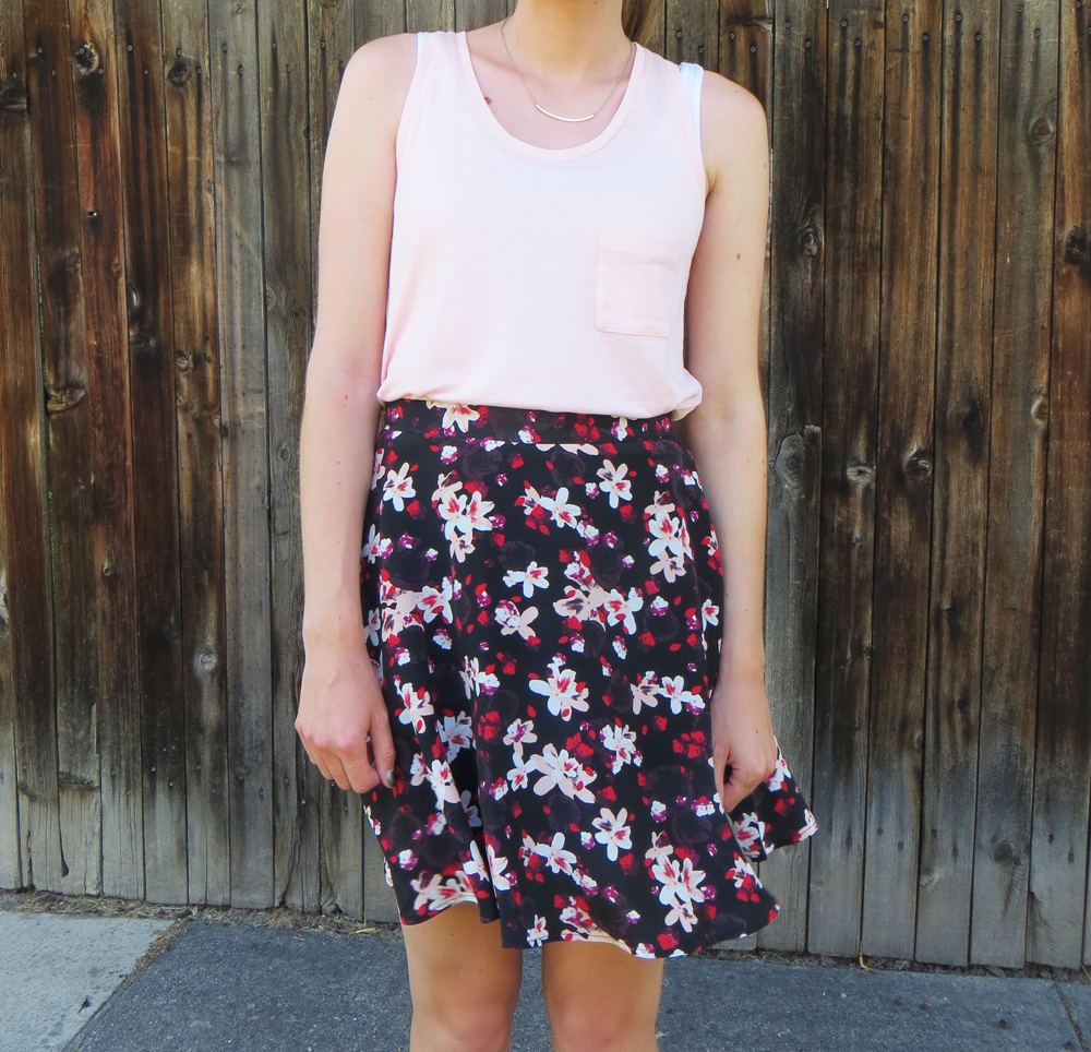 Blush tank top, dark floral skirt, simple necklace -- Cotton Cashmere Cat Hair