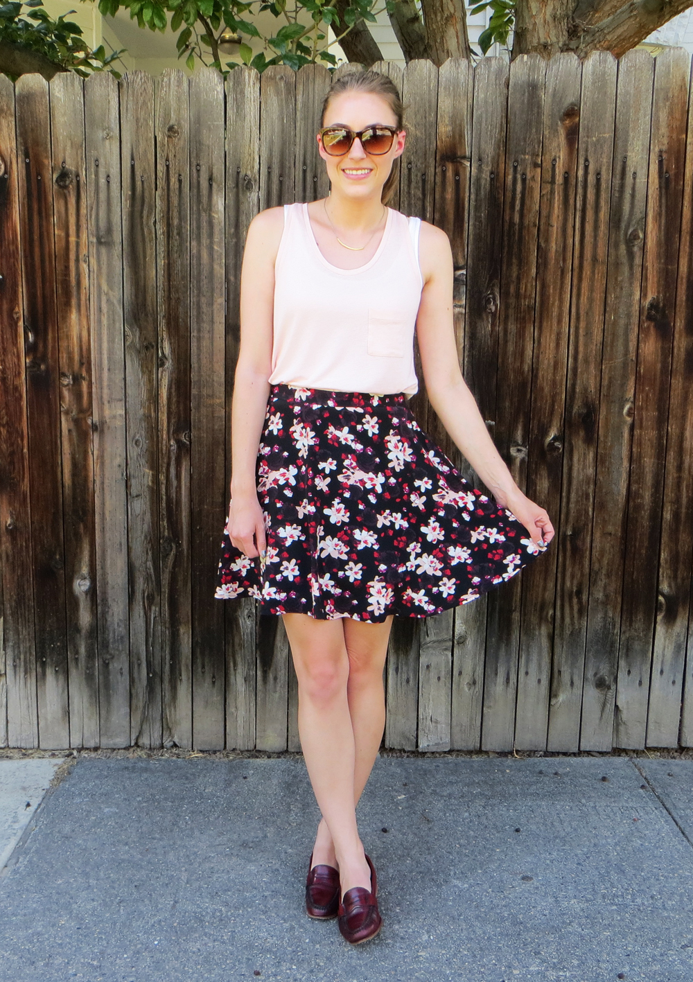 Blush tank, black floral skirt, burgundy loafers -- Cotton Cashmere Cat Hair