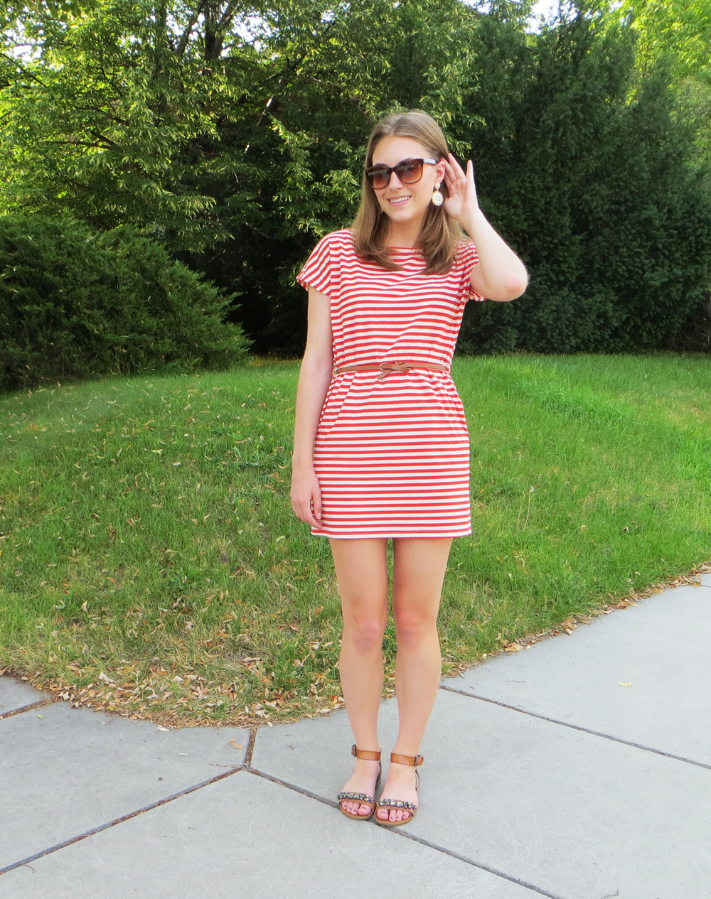 Red striped dress, cognac belt, embellished sandals, statement earrings -- Cotton Cashmere Cat Hair