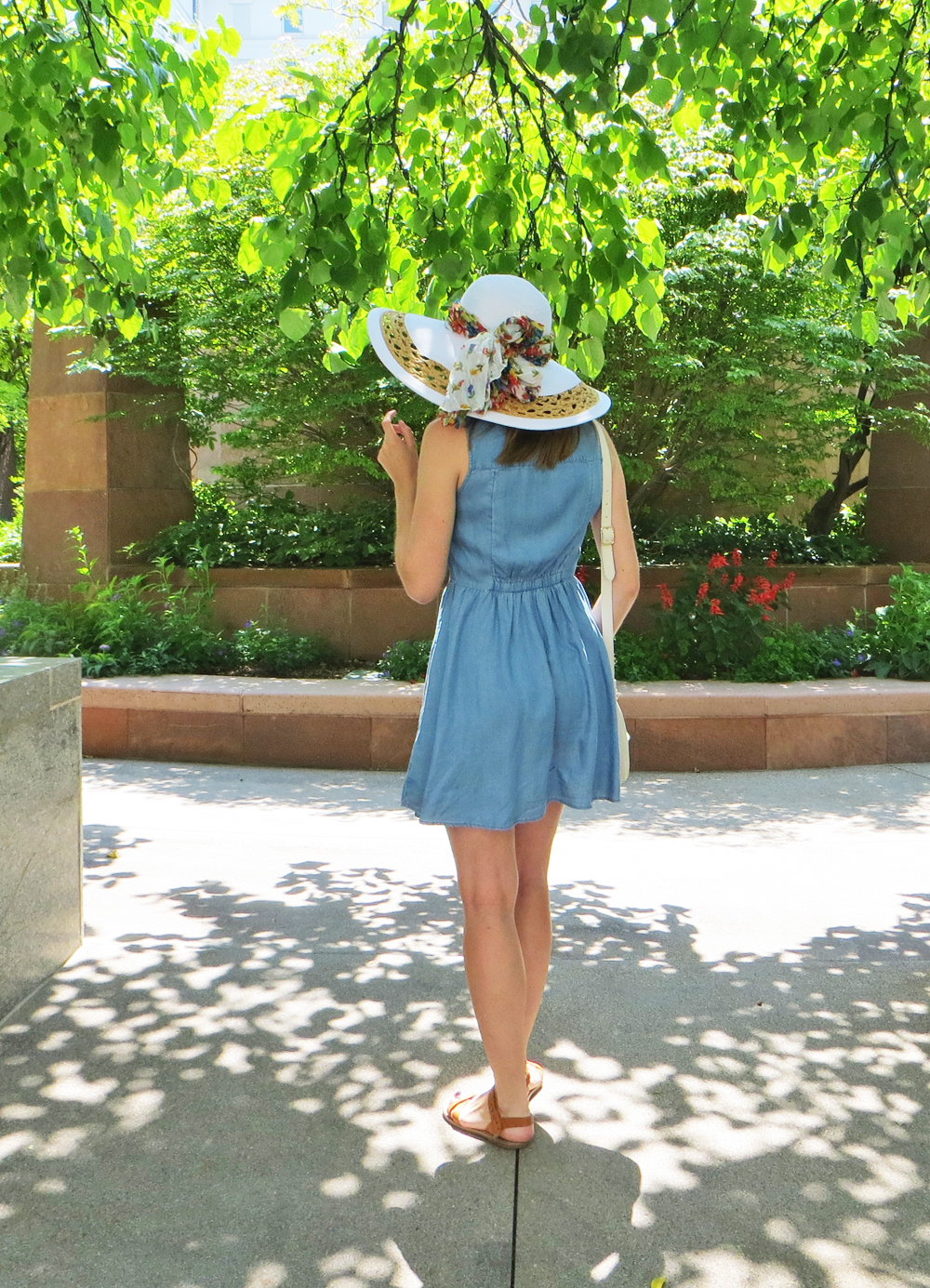 Chambray shirtdress, white sun hat, floral scarf -- Cotton Cashmere Cat Hair