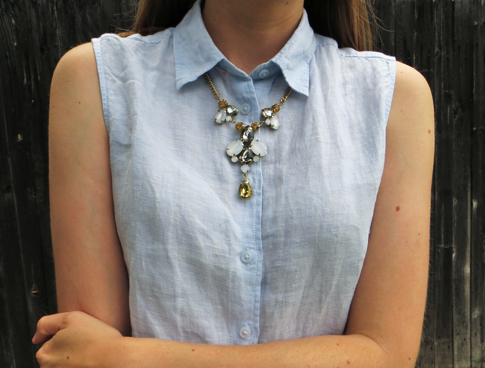 Light blue linen shirt + statement necklace -- Cotton Cashmere Cat Hair
