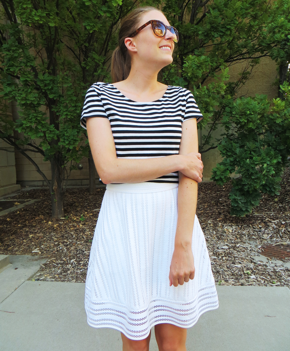 Striped crop top and white eyelet skirt -- Cotton Cashmere Cat Hair