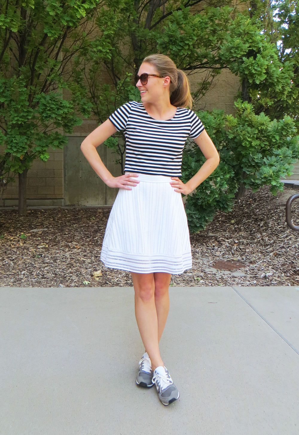 Striped crop top, white eyelet skirt, grey New Balance sneakers -- Cotton Cashmere Cat Hair