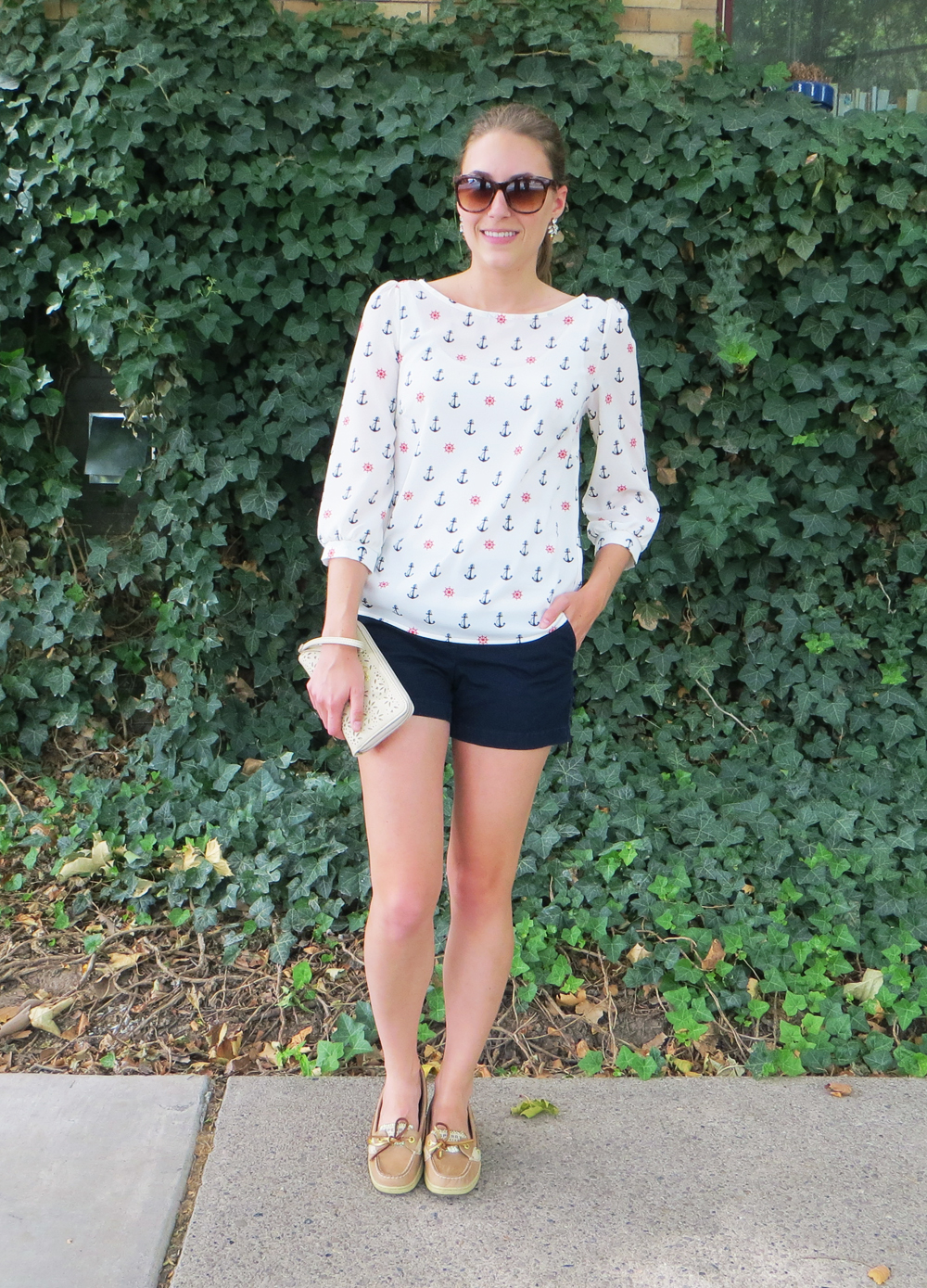 Anchor print top, navy shorts, gold Sperrys, perforated wristlet -- Cotton Cashmere Cat Hair