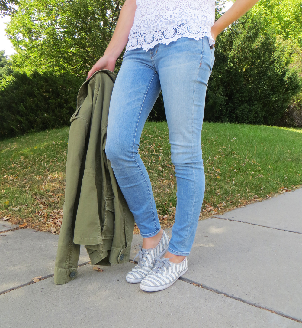 Light wash skinny jeans, striped Keds, army green jacket -- Cotton Cashmere Cat Hair