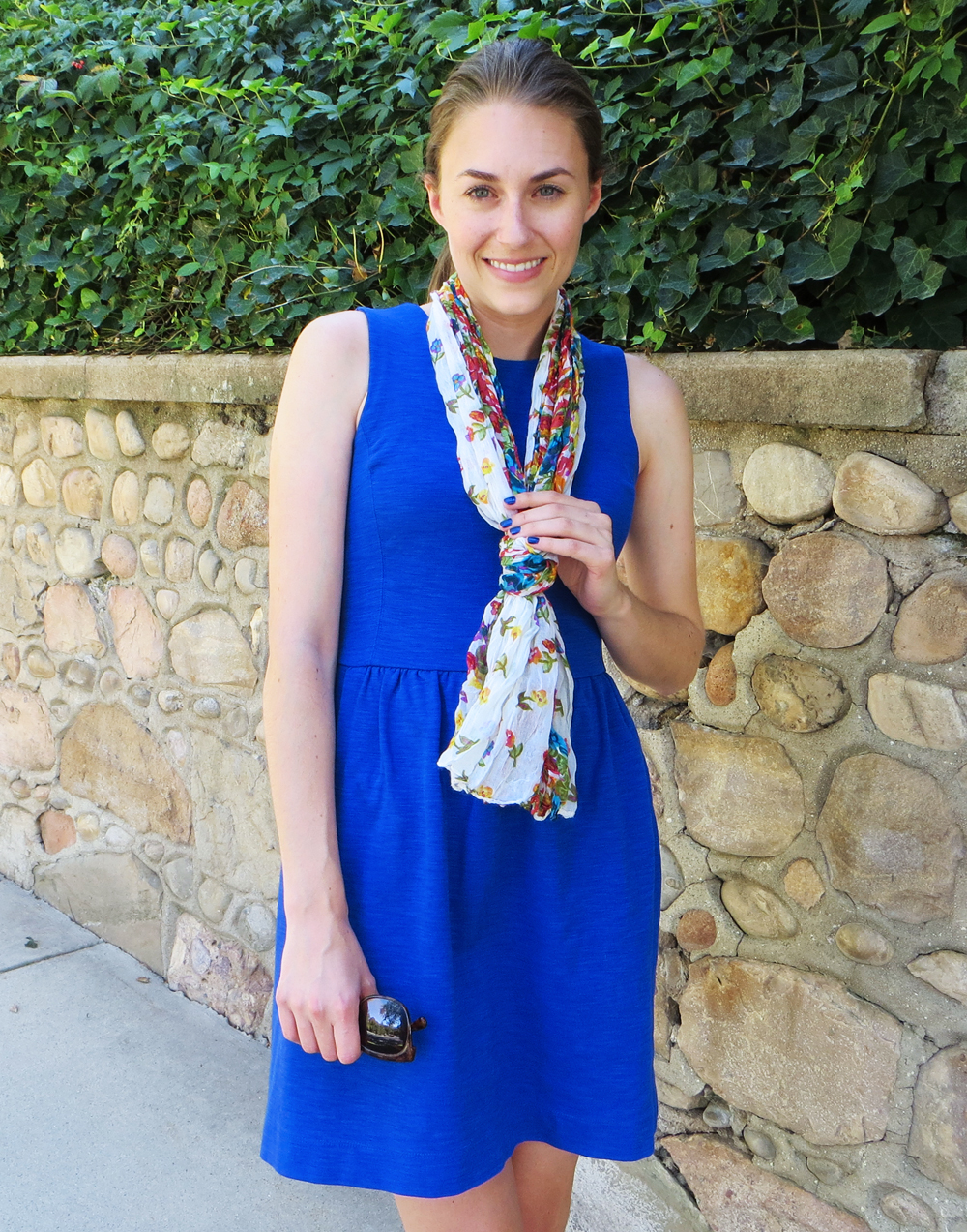Cobalt blue dress + floral scarf -- Cotton Cashmere Cat Hair