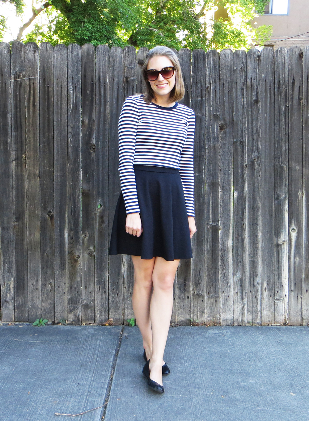 Navy striped tee, black skirt, black ballet flats -- Cotton Cashmere Cat Hair