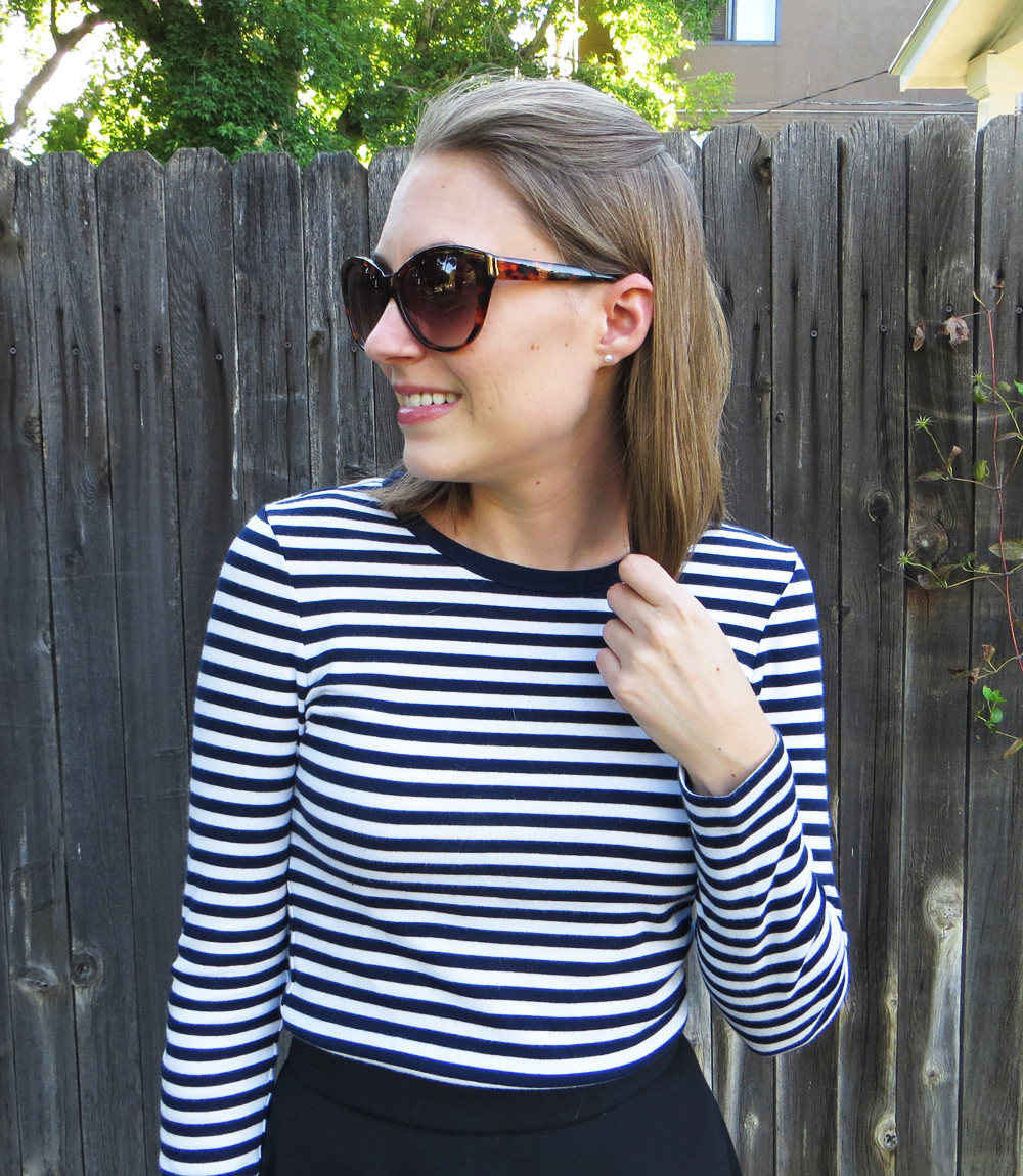 Navy striped tee + pearl earrings -- Cotton Cashmere Cat Hair