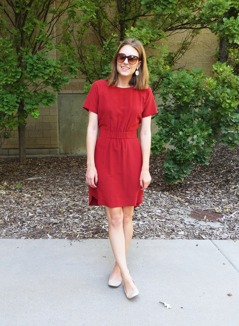 Red silk dress, nude ballet flats, statement earrings -- Cotton Cashmere Cat Hair