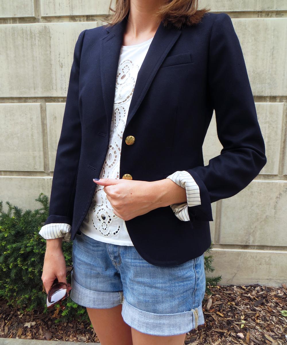 Navy blazer, lace top, denim shorts -- Cotton Cashmere Cat Hair