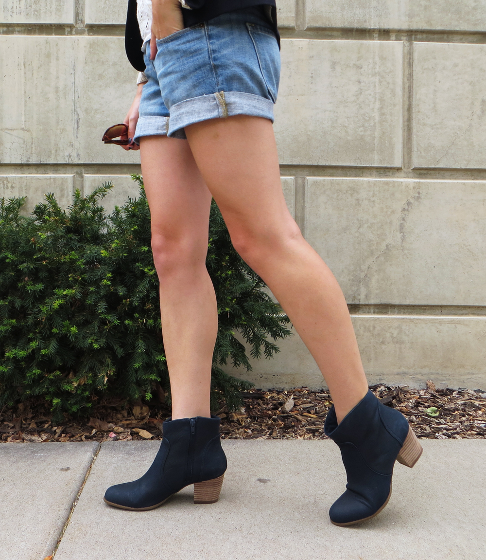 Navy ankle boots with denim shorts -- Cotton Cashmere Cat Hair