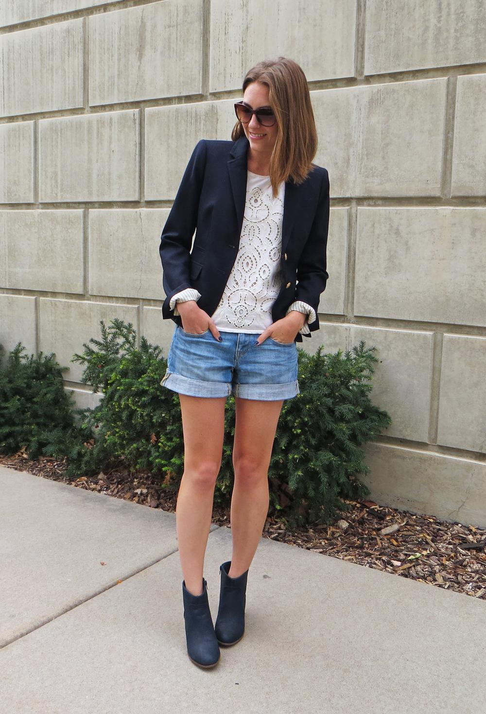 Navy blazer, lace top, denim shorts, navy ankle boots -- Cotton Cashmere Cat Hair