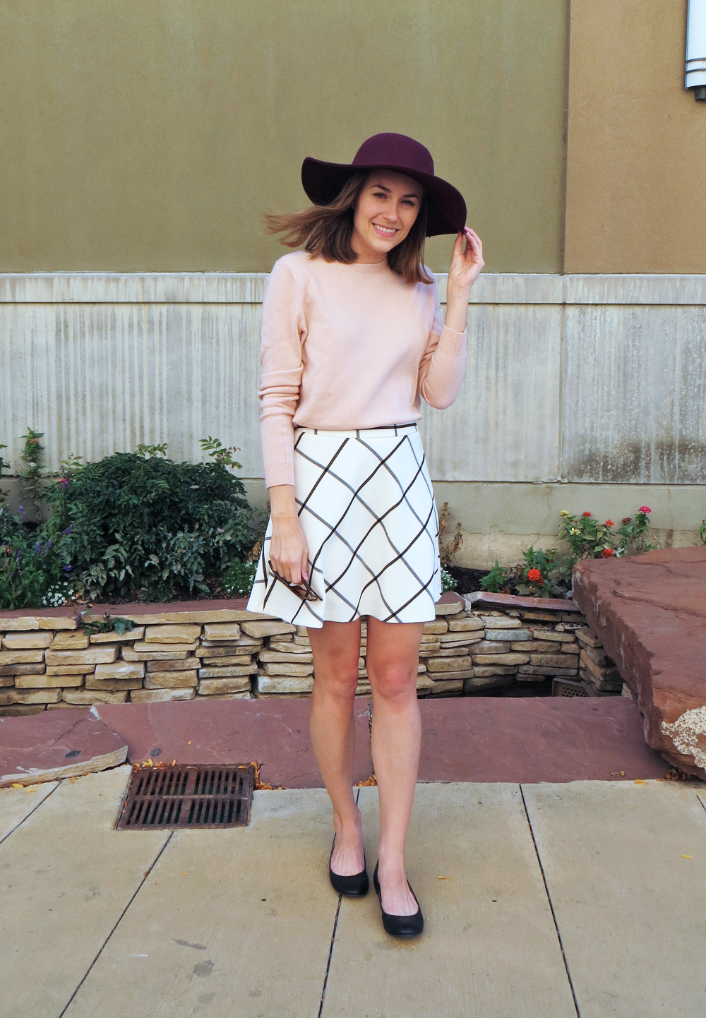 Blush pink sweater, windowpane skirt, black ballet flats, burgundy felt hat -- Cotton Cashmere Cat Hair
