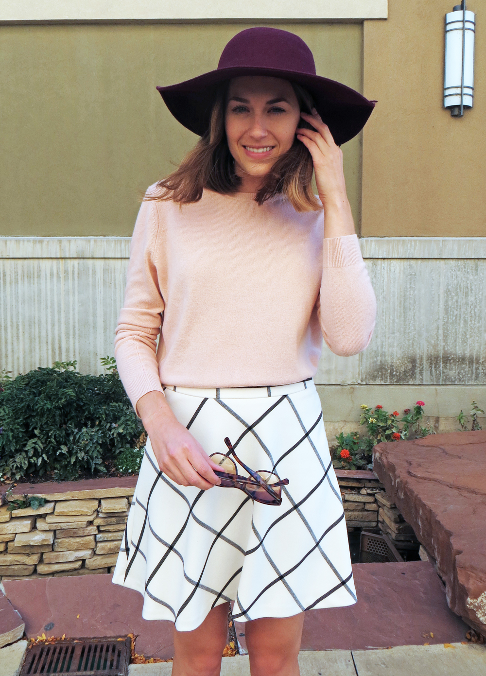 Blush pink sweater, windowpane skirt, burgundy felt hat -- Cotton Cashmere Cat Hair