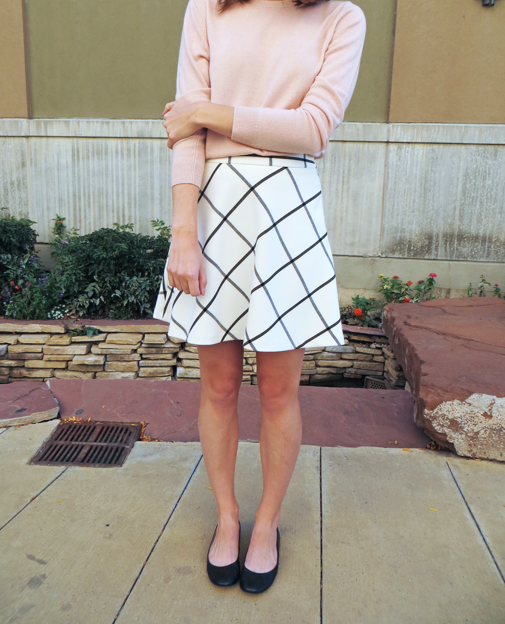 Blush pink sweater + windowpane skirt -- Cotton Cashmere Cat Hair