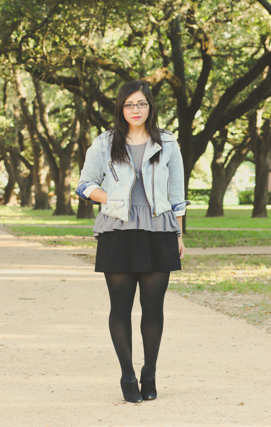 Leah from Morning Ink: Denim jacket, grey peplum top, black skirt, booties