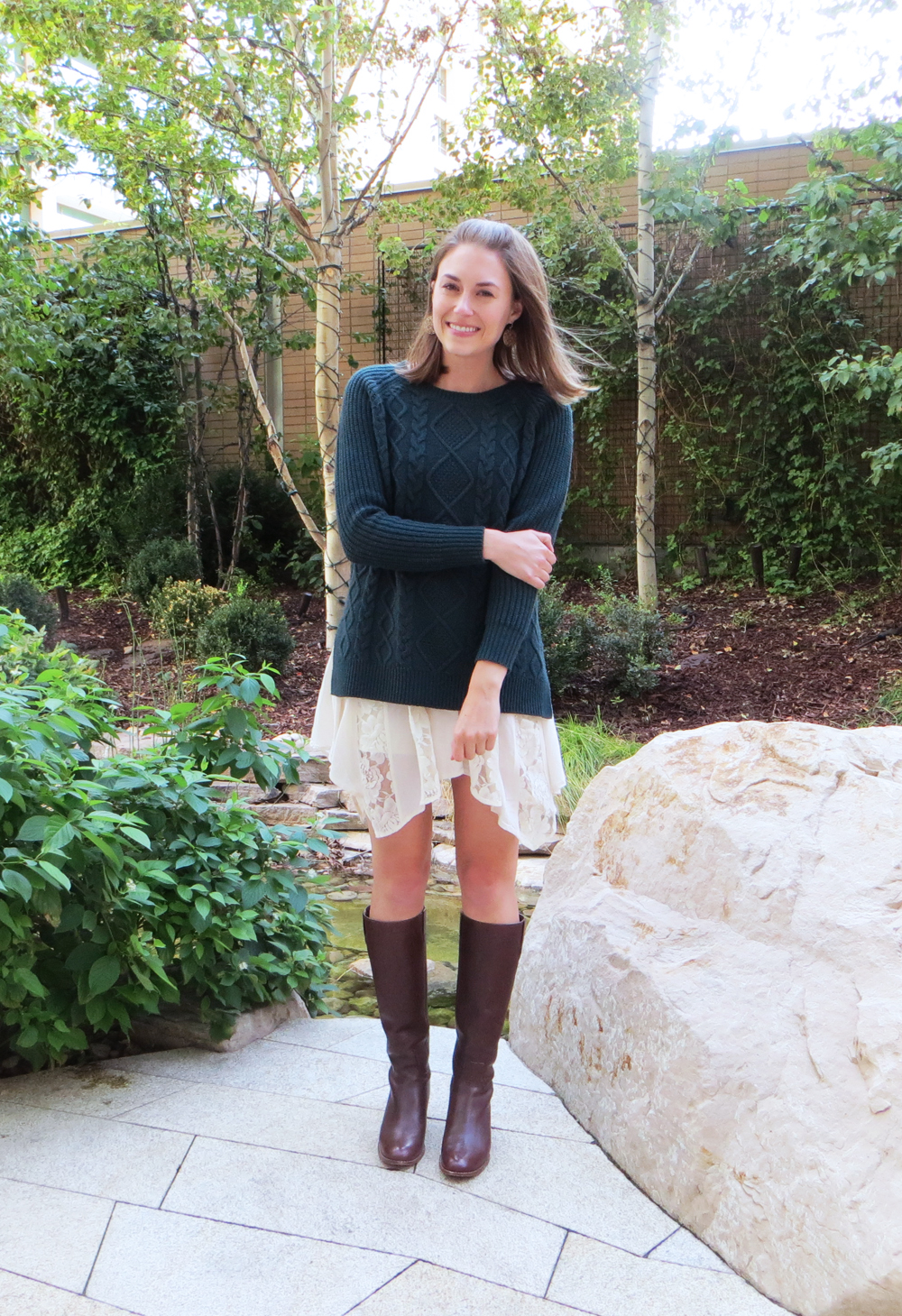 Forest green cable knit sweater, asymmetrical lace skirt, brown tall boots -- Cotton Cashmere Cat Hair
