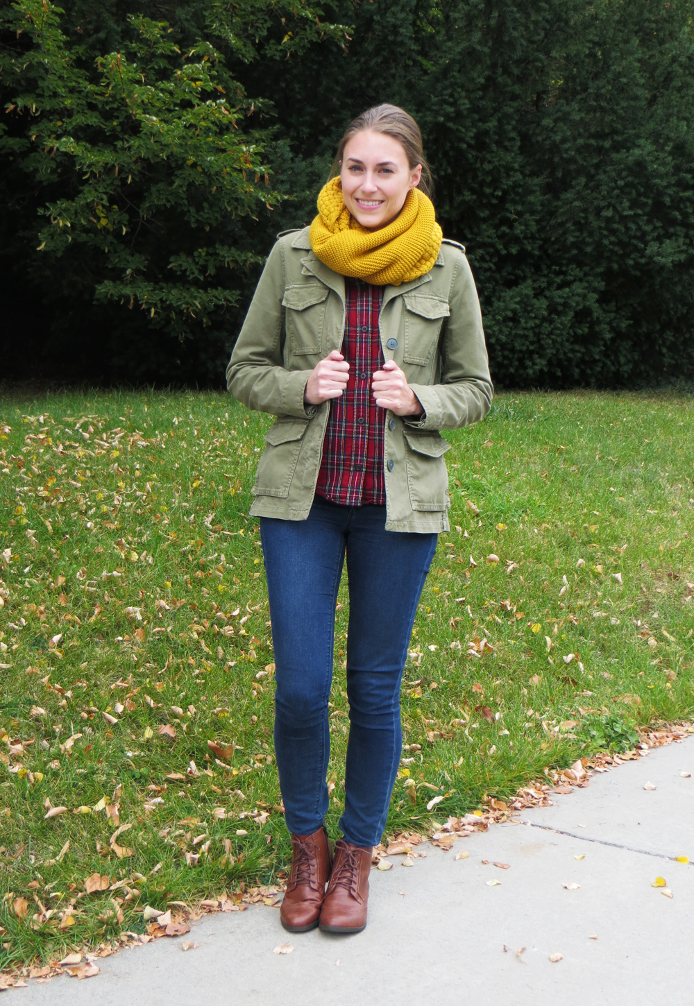 Army green utility jacket, plaid shirt, skinny jeans, brown ankle boots, mustard scarf -- Cotton Cashmere Cat Hair