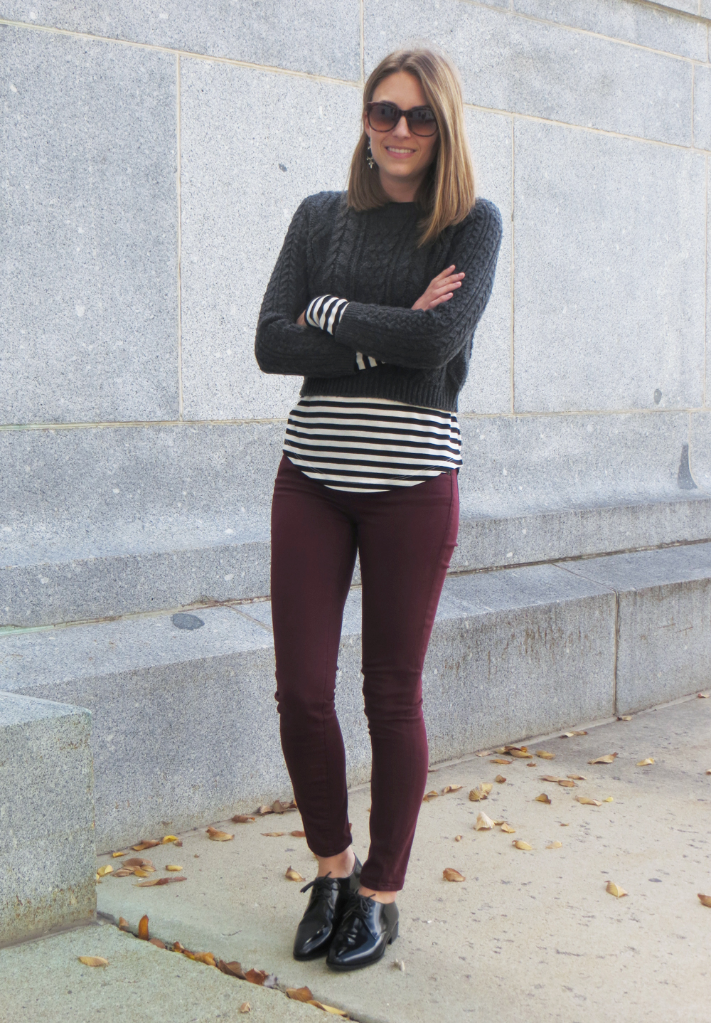 Cropped cable knit sweater, striped tee, burgundy pants, black oxfords -- Cotton Cashmere Cat Hair