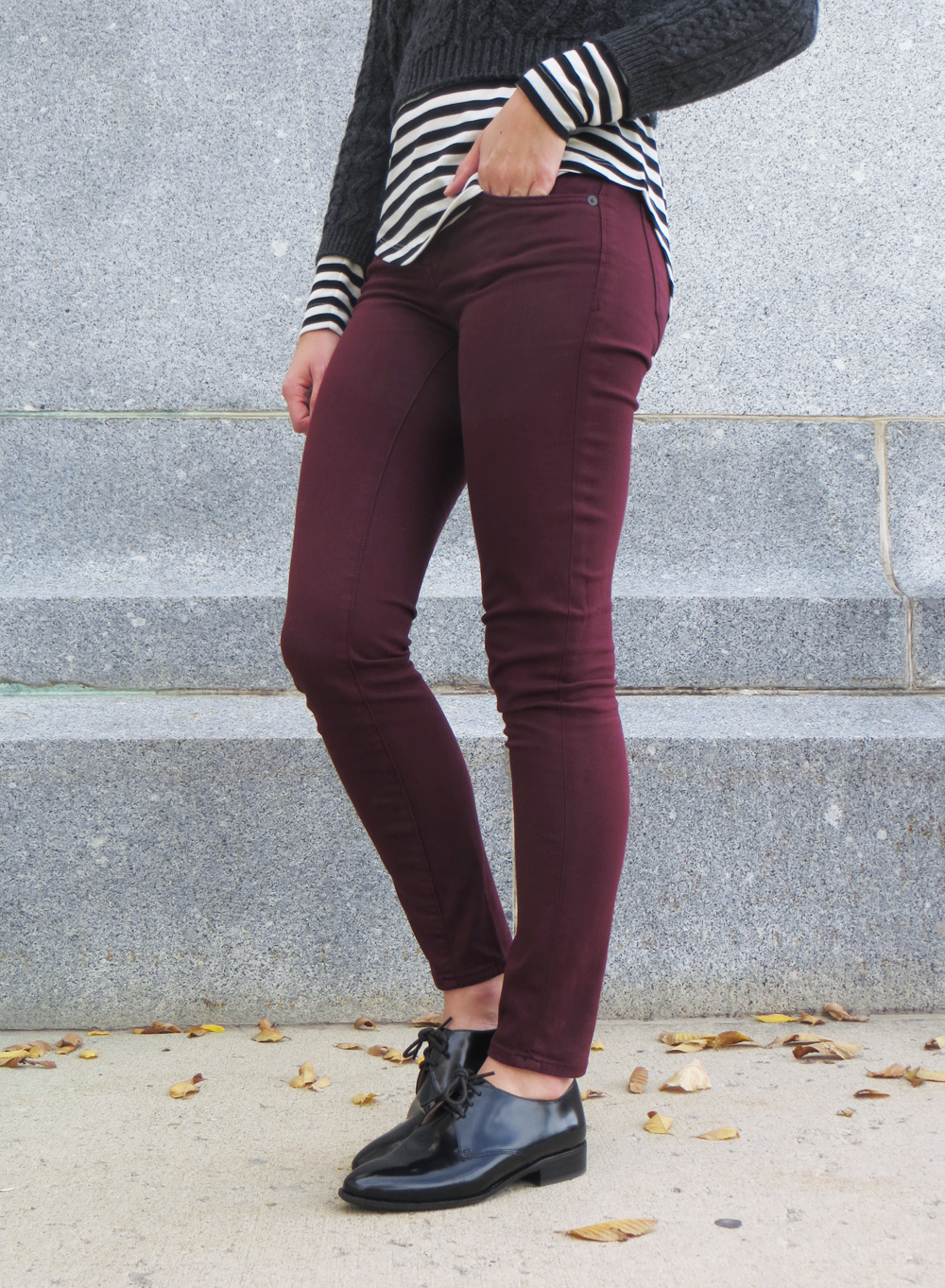 Burgundy pants + Madewell 'Jess' Oxfords in Cordovan -- Cotton Cashmere Cat Hair