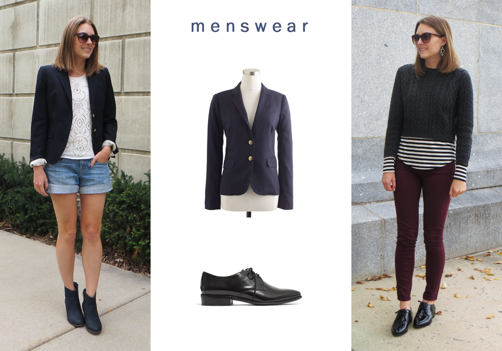 Incorporating elements of menswear into my style by adding a blazer and oxfords -- Cotton Cashmere Cat Hair