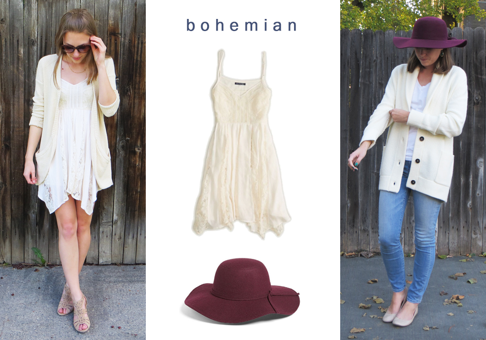 Incorporating elements of bohemian into my style by adding a lacy dress and floppy hat -- Cotton Cashmere Cat Hair