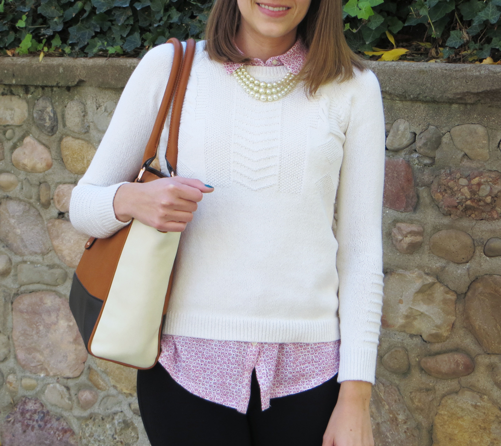 Grad student style: Ivory sweater over patterned shirt, tote bag, pearl necklace -- Cotton Cashmere Cat Hair