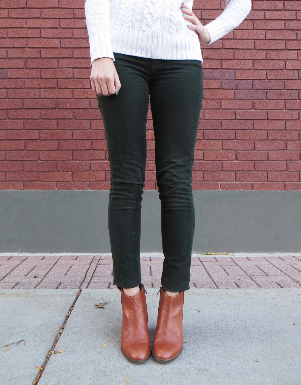 Ivory cable knit sweater + green corduroy pants + Madewell 'Billie' boots — Cotton Cashmere Cat Hair