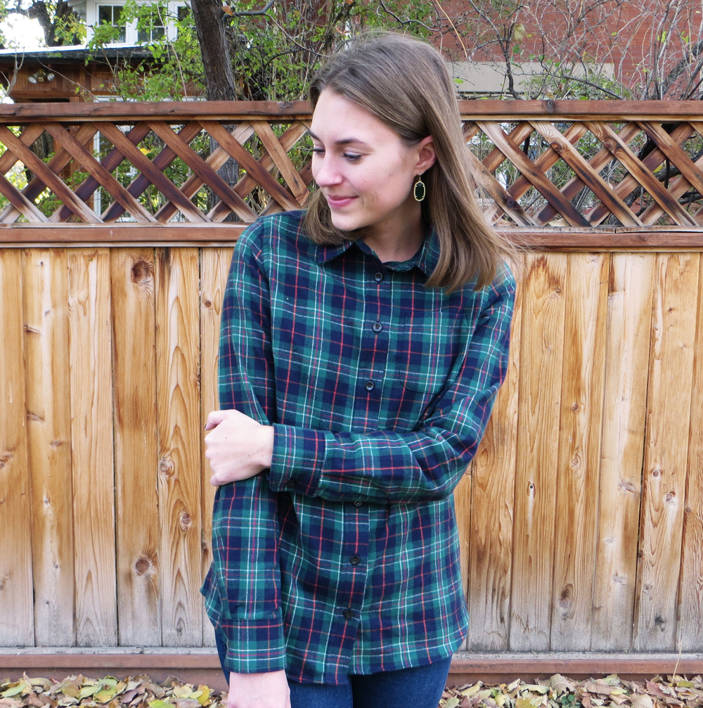Kendra Scott earrings + plaid flannel shirt — Cotton Cashmere Cat Hair