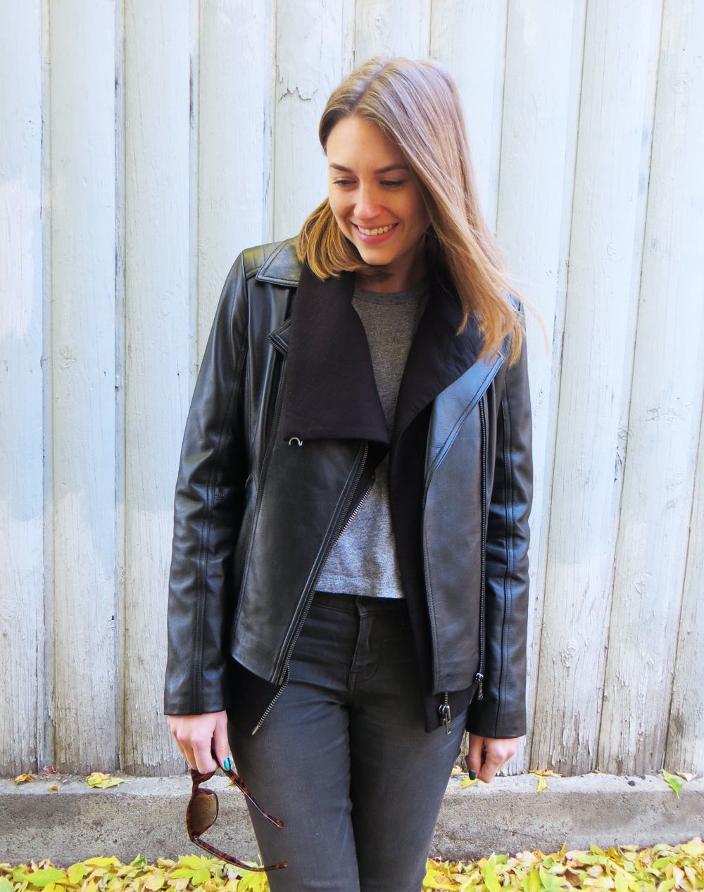 Leather jacket + asymmetrical sweatshirt + cropped tee + grey skinny jeans — Cotton Cashmere Cat Hair