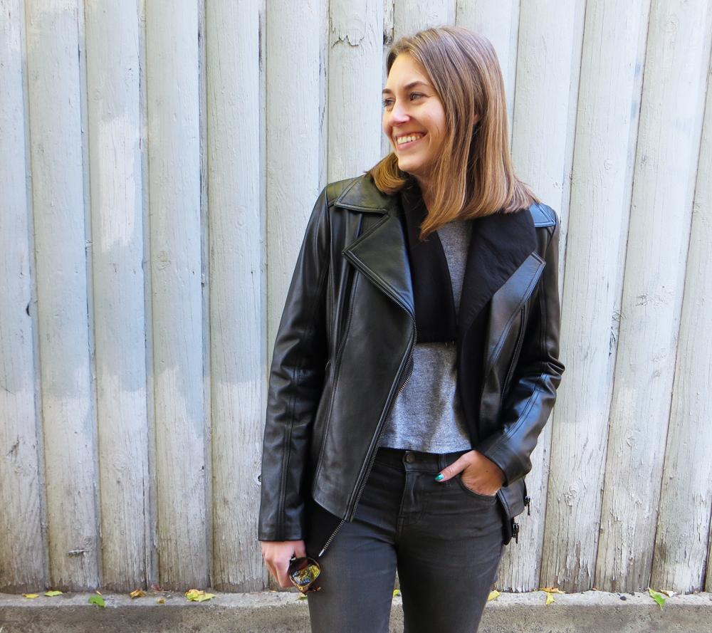 Black leather jacket, asymmetrical sweatshirt, cropped tee, grey jeans — Cotton Cashmere Cat Hair