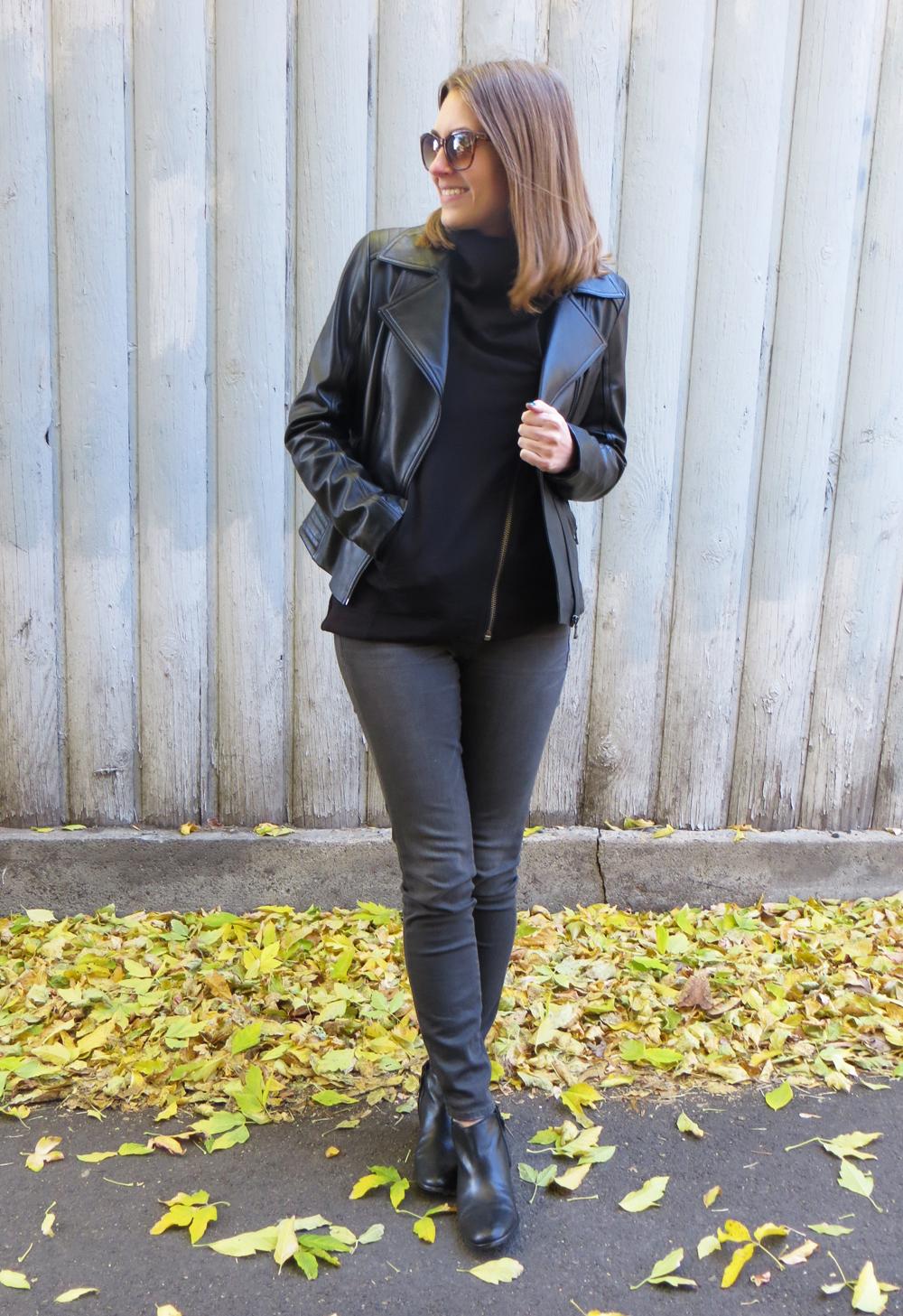 Black leather jacket, asymmetrical Helmut Lang sweatshirt, grey jeans, ankle boots — Cotton Cashmere Cat Hair