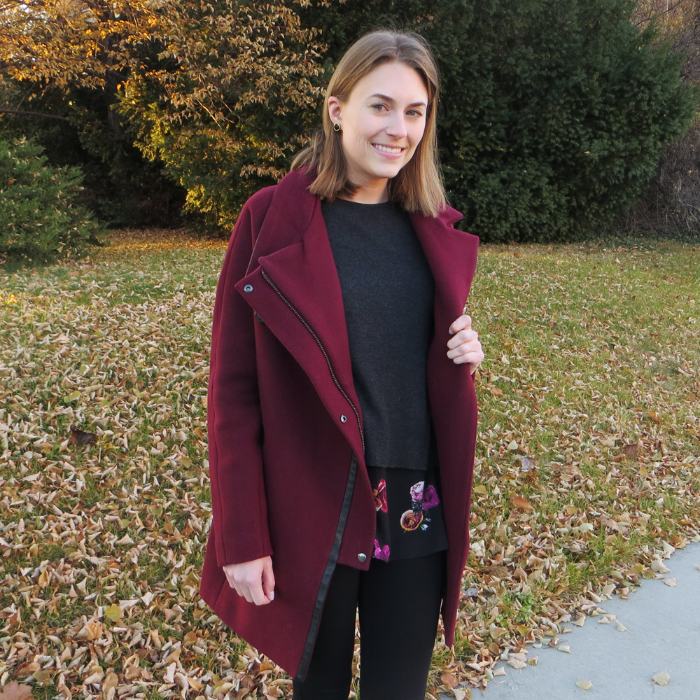 Madewell 'City Grid' coat + Thakoon for Kohl's layered sweater — Cotton Cashmere Cat Hair
