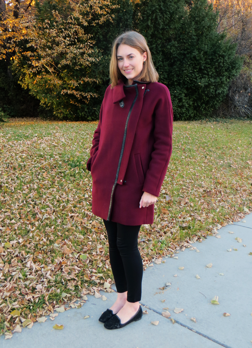 Madewell City Grid coat, J.Crew Pixie pants, black loafers — Cotton Cashmere Cat Hair