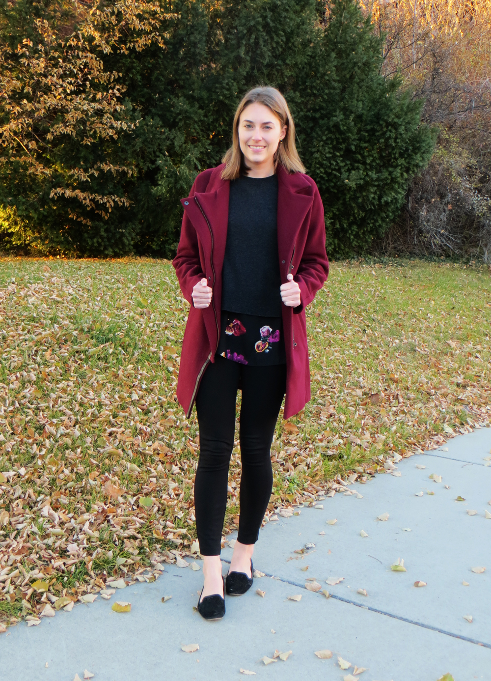 Madewell City Grid coat, layered sweater, ponte pants, black loafers — Cotton Cashmere Cat Hair