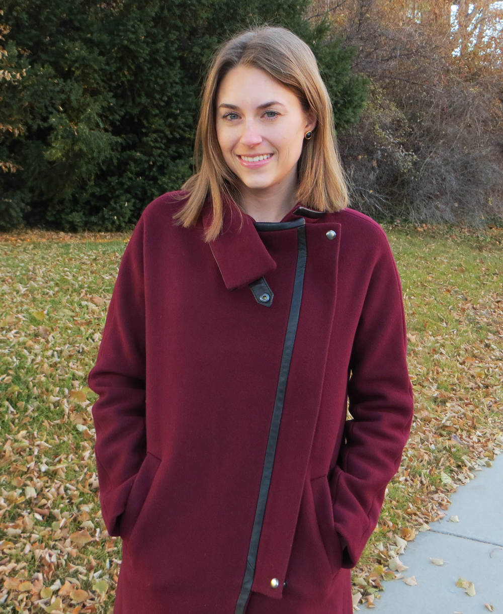 Madewell 'City Grid' coat in dark cabernet — Cotton Cashmere Cat Hair