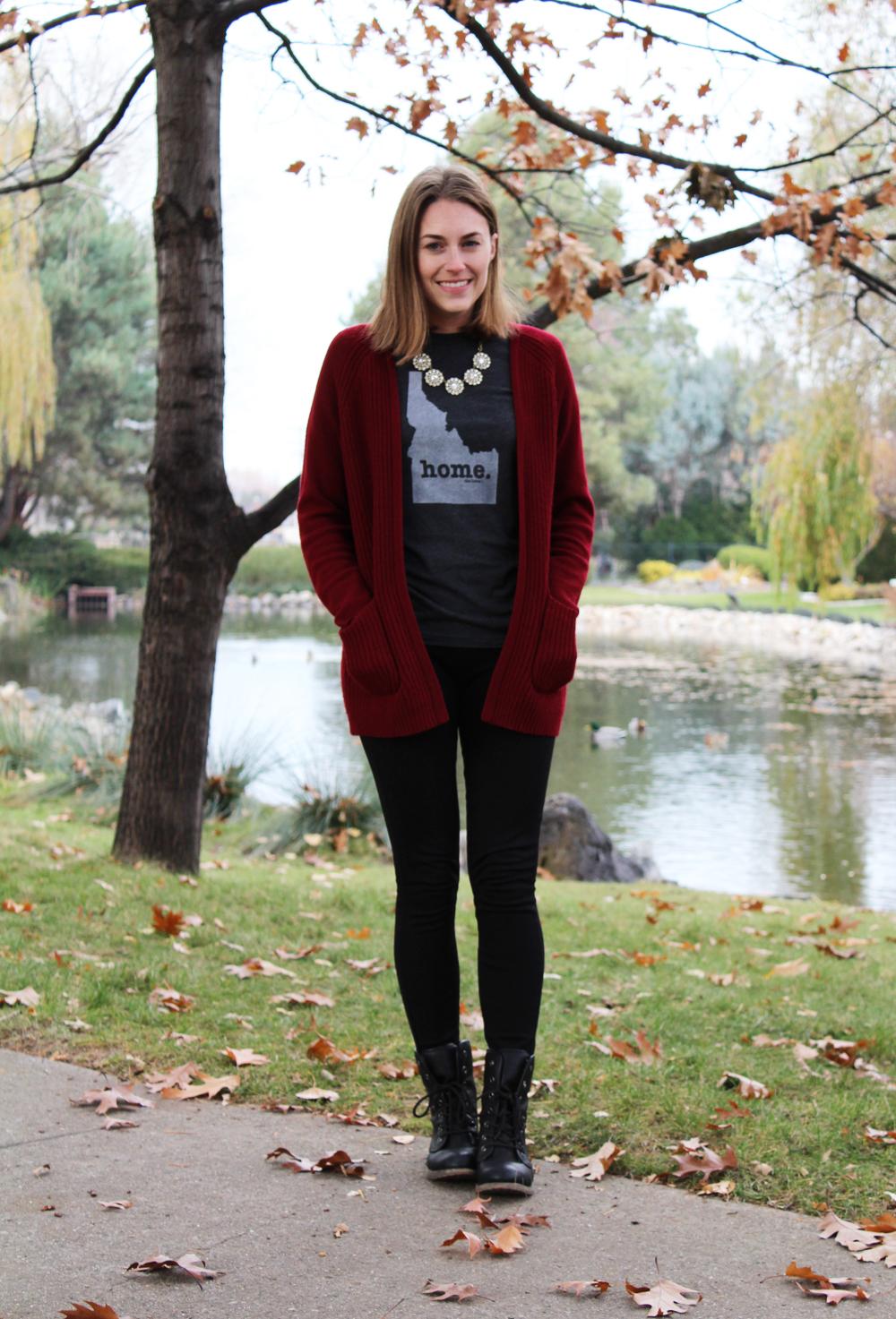 Burgundy cardigan, Home T, black pants, black boots, statement necklace — Cotton Cashmere Cat Hair