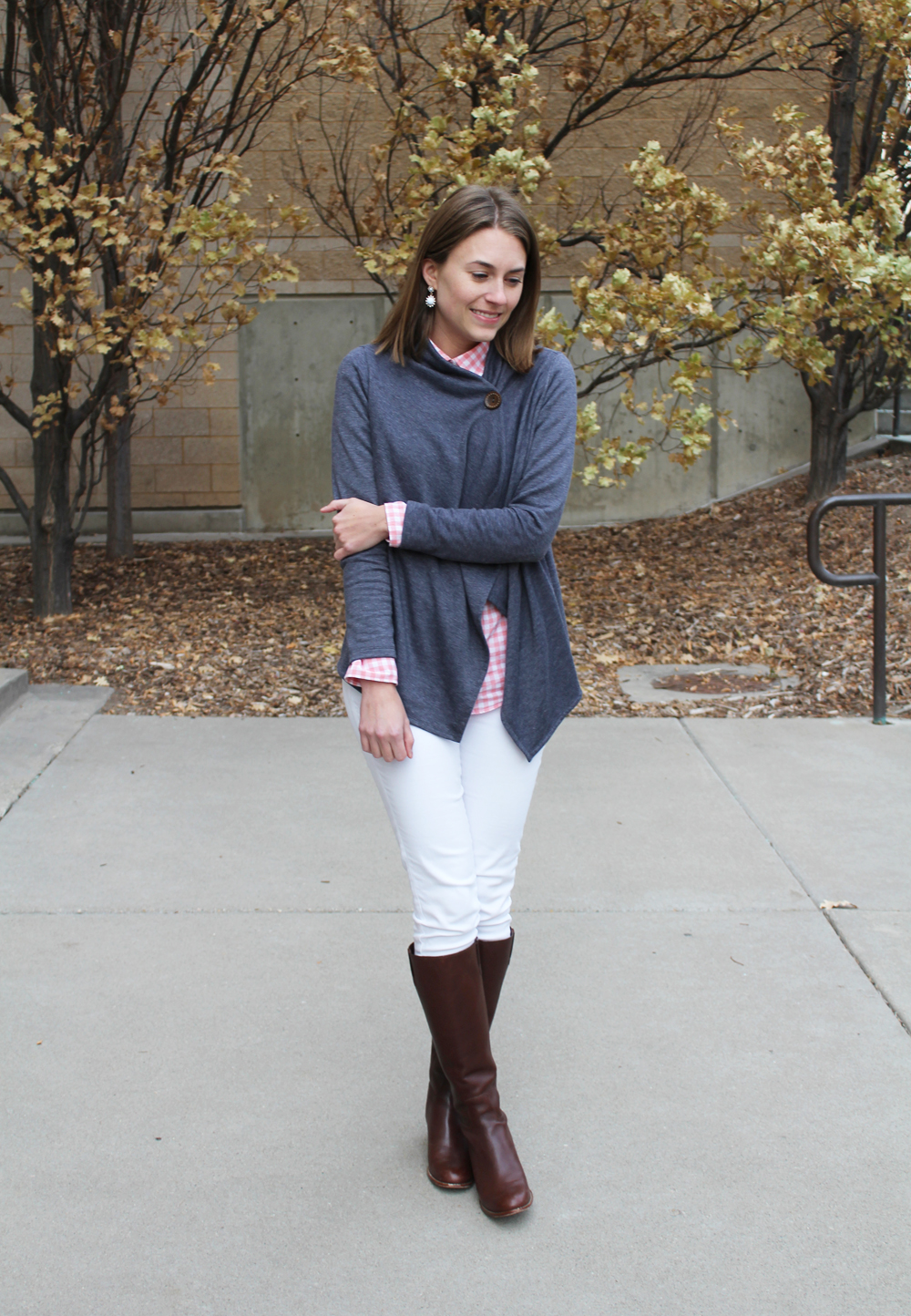 Asymmetrical cardigan, pink gingham shirt, white denim, brown tall boots — Cotton Cashmere Cat Hair