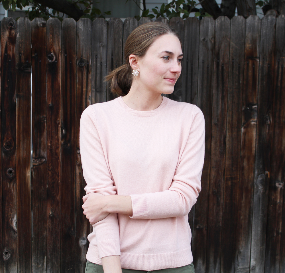Everlane blush pink cashmere sweater + statement earrings — Cotton Cashmere Cat Hair