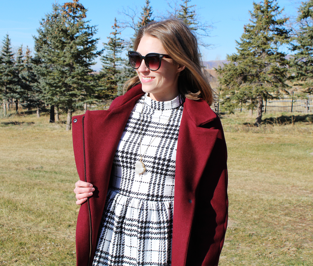 Madewell City Grid coat + plaid dress + quartz pendant necklace — Cotton Cashmere Cat Hair