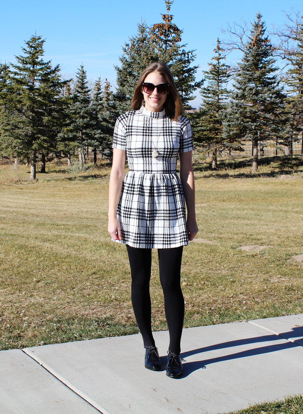 Plaid dress, fleece-lined tights, black oxfords, quartz pendant necklace — Cotton Cashmere Cat Hair