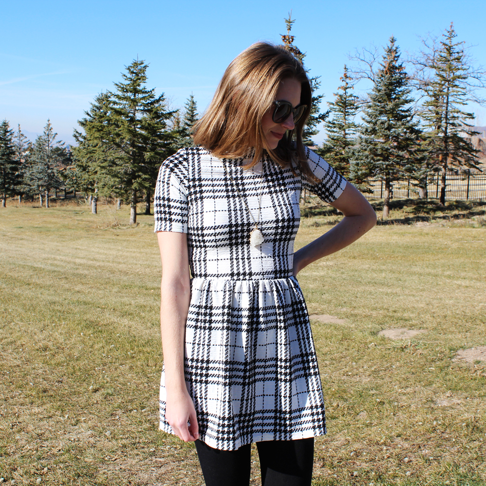 Plaid mock-neck dress + quartz pendant necklace — Cotton Cashmere Cat Hair