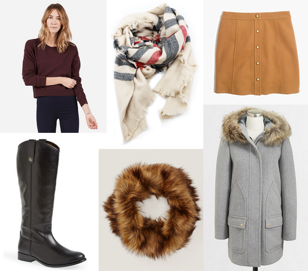 My winter wishlist: cashmere, leather boots, camel skirt, parka, scarves — Cotton Cashmere Cat Hair