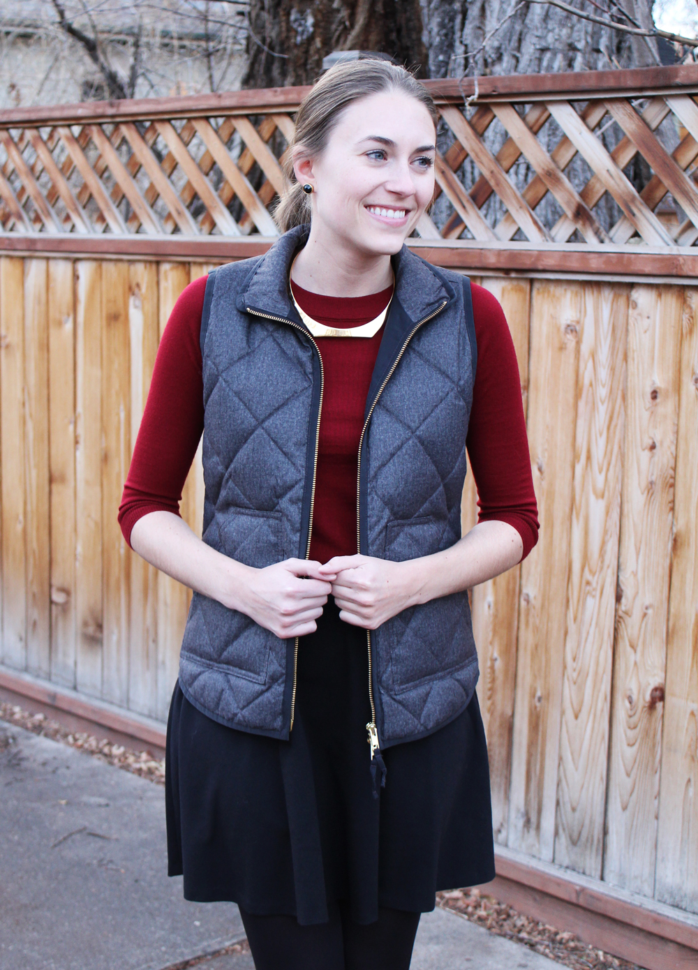 J.Crew Factory puffer vest, burgundy sweater, black skirt, gold choker — Cotton Cashmere Cat Hair