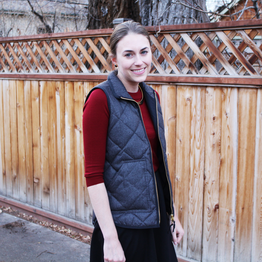J.Crew Factory puffer vest + burgundy sweater + black skirt — Cotton Cashmere Cat Hair