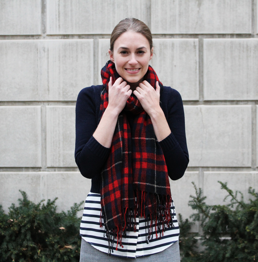 Plaid scarf + cropped navy sweater + navy striped top — Cotton Cashmere Cat Hair