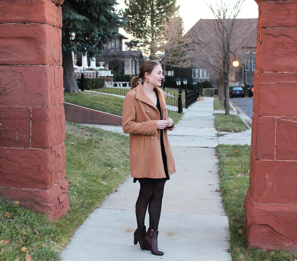 Camel coat, LBD, dark red heeled boots, statement earrings — Cotton Cashmere Cat Hair